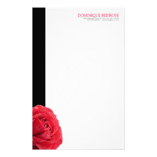 Red Rose with Black Accent Custom Stationery