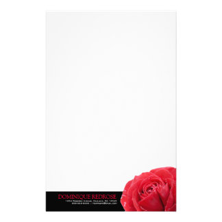 Red Rose with Black Accent Personalized Stationery