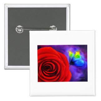Red Rose With Butterfly Painting Art - Multi Pins