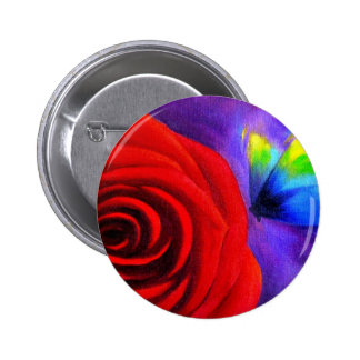 Red Rose With Butterfly Painting Art - Multi Pinback Button