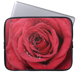 Red Rose with droplets Laptop Sleeve
