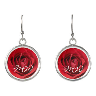 Red Rose with Initials Earrings