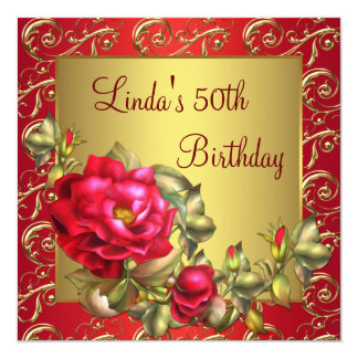 Red Rose Womans Birthday Party 13 Cm X 13 Cm Square Invitation Card