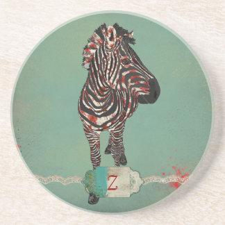 Red Rose Zebra Monogram  Coaster