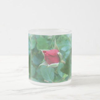red rosebud frosted glass coffee mug
