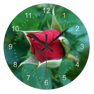 red rosebud large clock