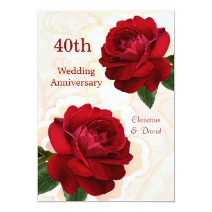 40th anniversary wedding invitations zazzle red roses 40th ruby wedding anniversary invitation stopboris Choice Image