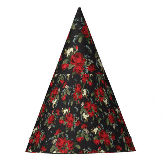 RED ROSES AND BABY BREATH FLORAL PARTY HATS