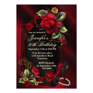 Red Roses and Black Lace Shoe Adult Birthday Personalized Invites
