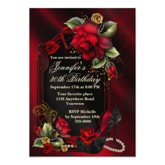 Red Roses and Black Lace Shoe Adult Birthday 13 Cm X 18 Cm Invitation Card