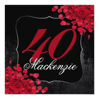 Red Roses and Black Velvet Elegant Classy Birthday Card