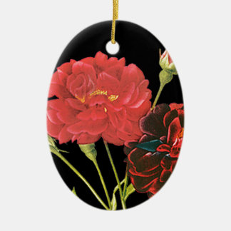 Red Roses and Bud Christmas Tree Ornament