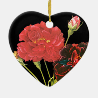 Red Roses and Bud Christmas Tree Ornaments