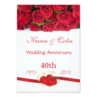 Red roses and hearts 40th Wedding Anniversary 11 Cm X 16 Cm Invitation Card