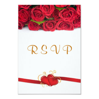 Red roses and hearts Wedding RSVP Invitation