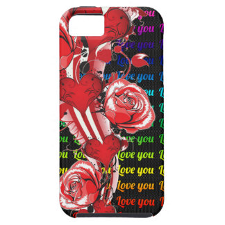 Red roses and hearts with colorful words love you case for the iPhone 5