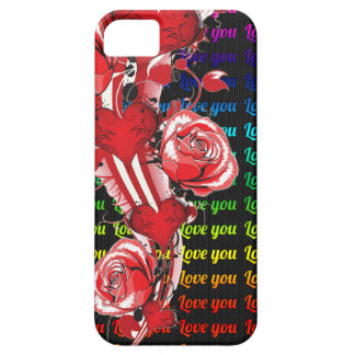 Red roses and hearts with colorful words love you iPhone 5 case