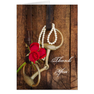 Red Roses and Horse Bit Country Thank You Card