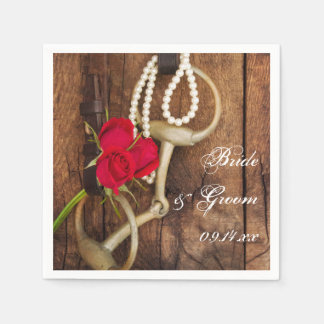 Red Roses and Horse Bit Country Western Wedding Disposable Serviettes