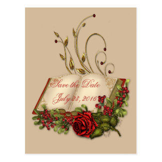 Red Roses and Open Bible Embellished Save the Date Postcard