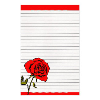 Red roses and pearls. customized stationery