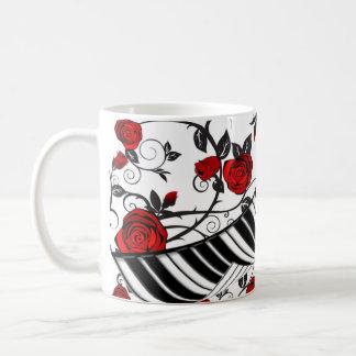 Red roses and piano keys, eye catching! coffee mug