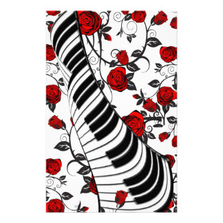 Red roses and piano keys, eye catching! customised stationery