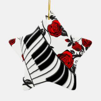 Red roses and piano keys, eye catching! Double-Sided star ceramic christmas ornament