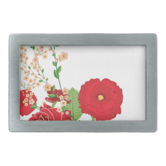 Red Roses and Poppies Ornament 2 Belt Buckle