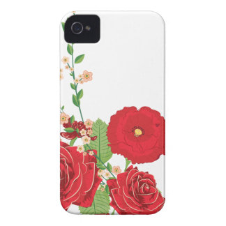 Red Roses and Poppies Ornament 2 iPhone 4 Cover