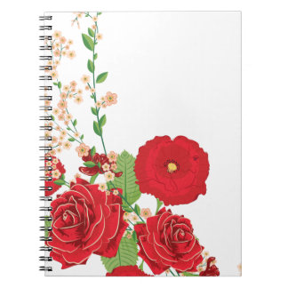 Red Roses and Poppies Ornament 2 Notebooks