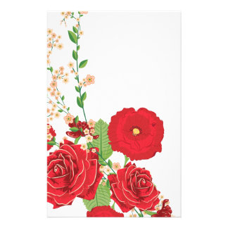 Red Roses and Poppies Ornament 2 Stationery