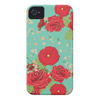 Red Roses and Poppies Ornament 3 iPhone 4 Case