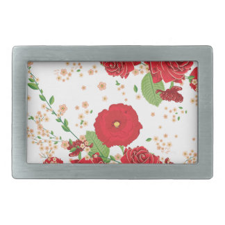 Red Roses and Poppies Ornament Belt Buckle