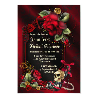 Red Roses and  Skull Gothic Bridal Shower 13 Cm X 18 Cm Invitation Card