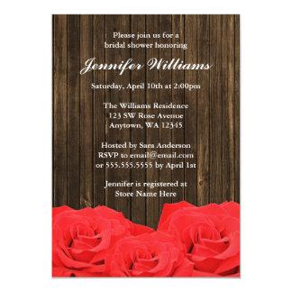 Red Roses Barn Wood Bridal Shower 13 Cm X 18 Cm Invitation Card