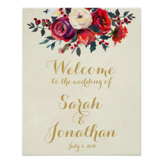 Red roses berries winter wedding welcome sign