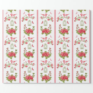 Red Roses Birds & Bird Cages Seamless Pattern Wrapping Paper
