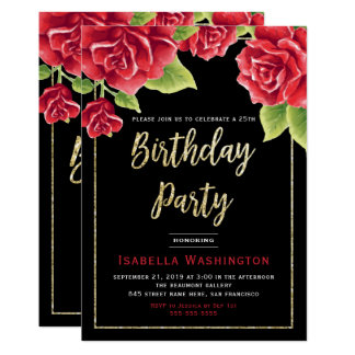 Red Roses Black & Gold Glitter Birthday Party Card