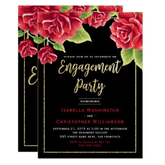 Red Roses Black & Gold Glitter Engagement Party Card