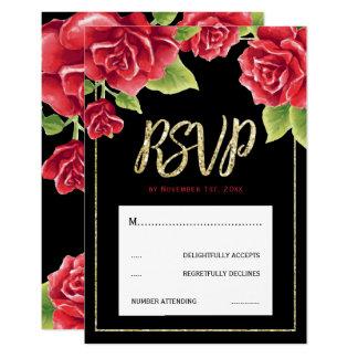 Red Roses Black & Gold Glitter Wedding RSVP Card