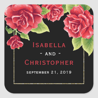 Red Roses Black & Gold Glitter Wedding Square Sticker