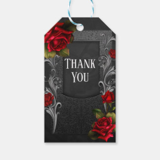 Red Roses Black Ornate Gothic Wedding Favor Gift Tags