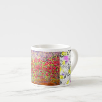 red roses blooming drip 6 oz ceramic espresso cup