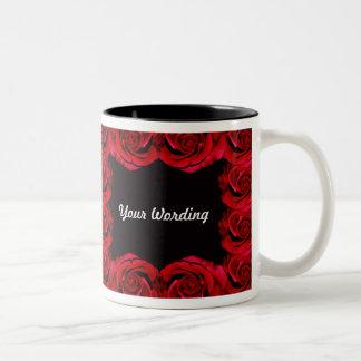 Red roses border trim romantic mug (add wording)