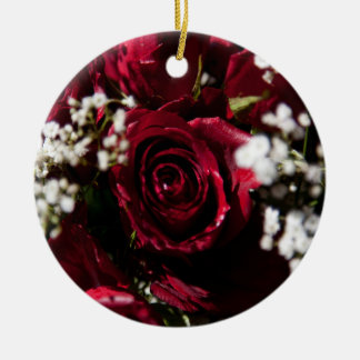 Red roses bouquet close up christmas tree ornament