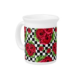 Red Roses Bouquet Floral Love Rockabilly Checkered Beverage Pitchers