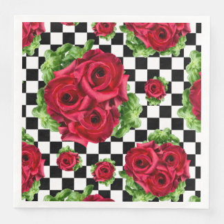 Red Roses Bouquet Floral Love Rockabilly Checkered Disposable Serviettes