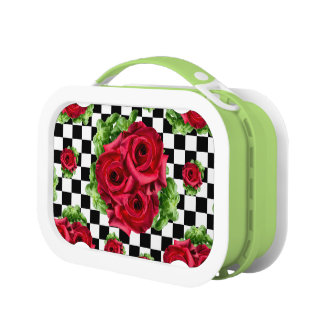 Red Roses Bouquet Floral Love Rockabilly Checkered Lunch Box
