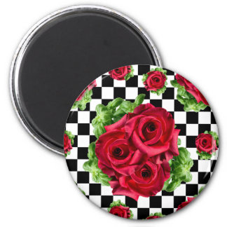 Red Roses Bouquet Floral Love Rockabilly Checkered Magnet